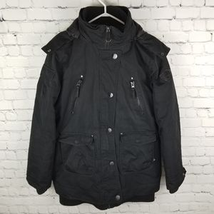 NOIZE | utility zip/snap faux fur trim hood jacket